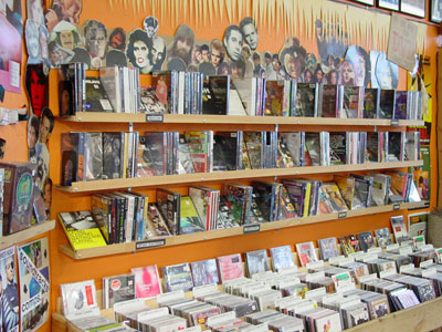 The racks at a record shop.