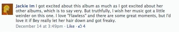 Jackie's Facebook Beyonce review