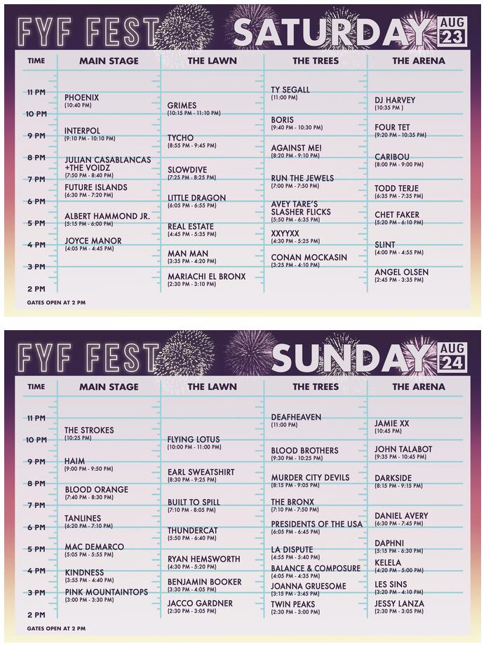 FYF Fest Schedule