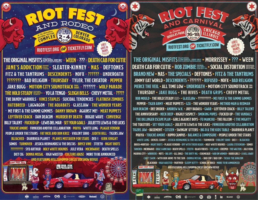 Riot Fest 2016 lineup