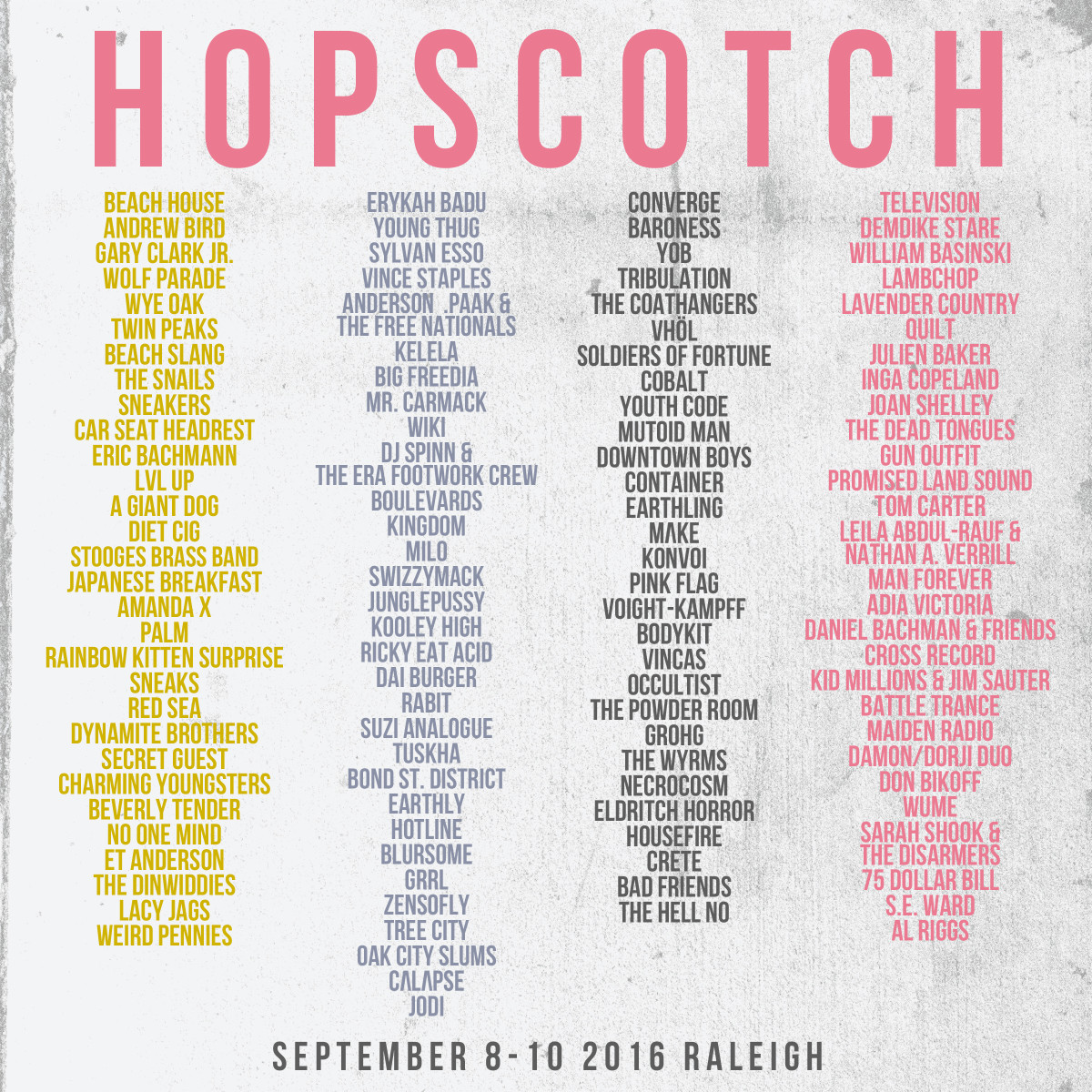 Hopscotch 2016 lineup