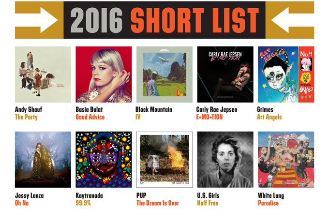 Polaris Music Prize 2016 shortlist