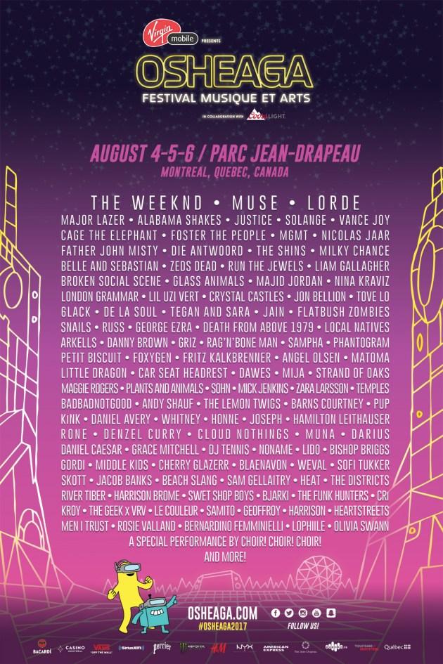 Osheaga Festival 2017 lineup
