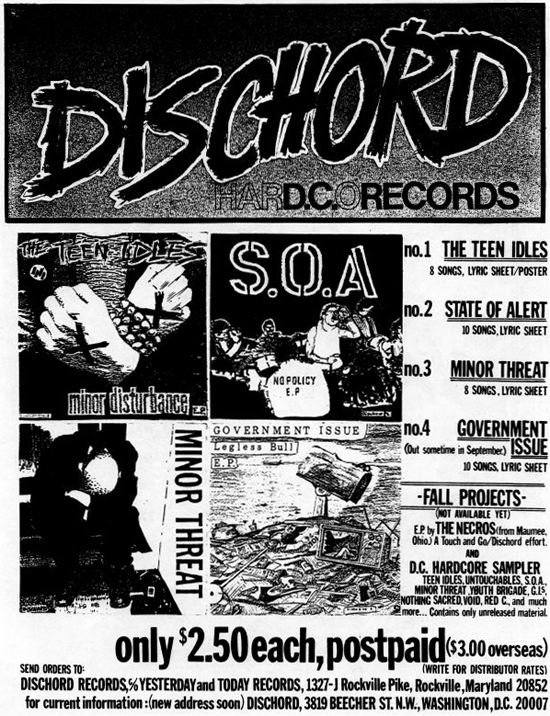 history of emo Dischord advertisement