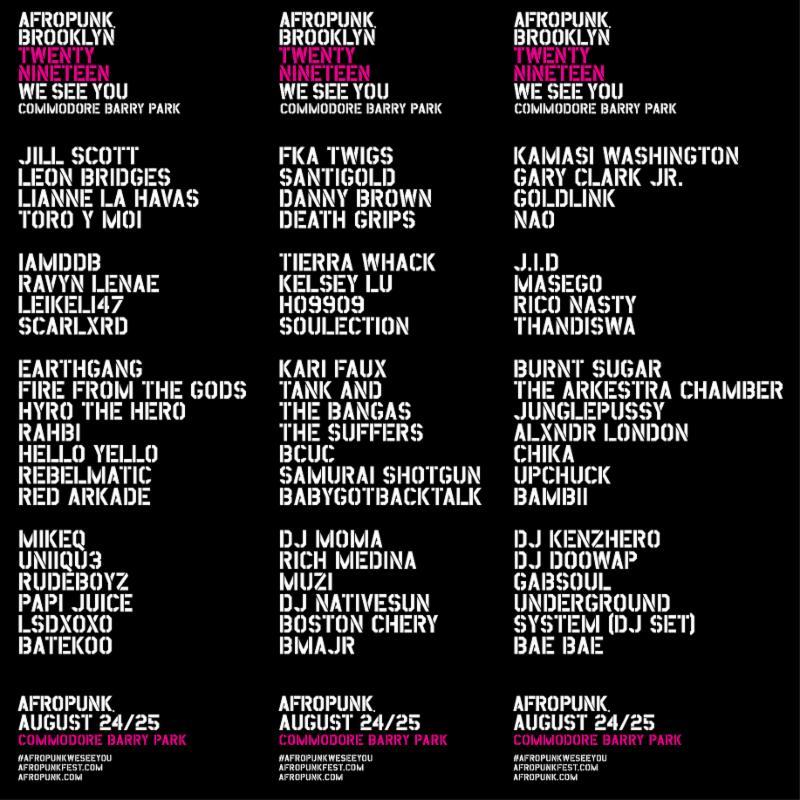 Afropunk 2019 lineup