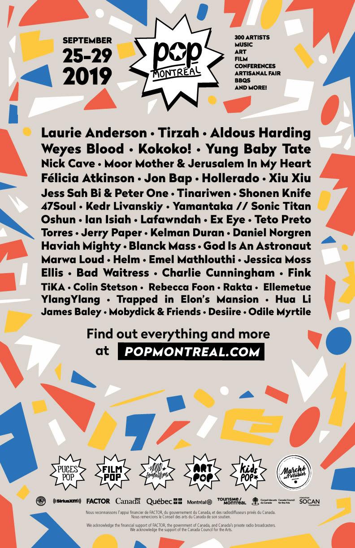 Pop Montreal 2019 lineup